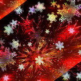 Abstract christmas background with glittering stars and snowflakes Stock Image
