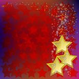 Abstract christmas background with gold stars Royalty Free Stock Photo