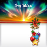Abstract Christmas background with handbells. And decorations Royalty Free Stock Image