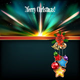Abstract Christmas background with handbells. And decorations on black Stock Image