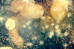 abstract Christmas background with holiday lights Stock Photo