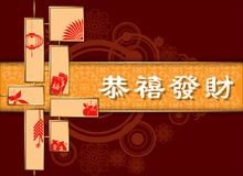 Abstract chinese new year. The meaning are Lucky and Happy. Royalty Free Stock Images