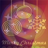 Abstract christmas background with monoline motifs on blurry spiral area Royalty Free Stock Image