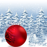 Abstract Christmas background. Red ball ornaments Christmas in winter snow-covered forest Stock Photography