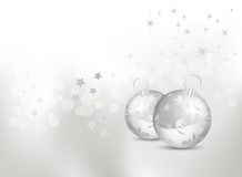 Abstract Christmas background with silver baubles Royalty Free Stock Images