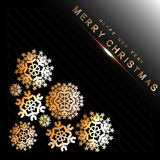 Abstract christmas  background from snowflakes on black. Abstract christmas  background from snowflakes on lines and black Royalty Free Stock Image