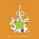 Abstract Christmas background with star. And christmas toys Royalty Free Stock Photo