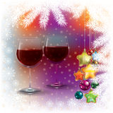 Abstract Christmas background with wine glasses Stock Image
