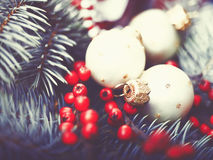 Abstract Christmas backgrounds. With holiday decorations and red berries Royalty Free Stock Photo