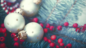 Abstract Christmas backgrounds. With holiday decorations and red berries Stock Images
