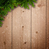 Abstract christmas backgrounds. With noel decorations and old wooden desk Stock Images