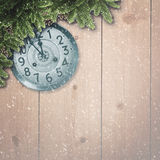 Abstract christmas backgrounds. With xmas decorations, old watches and wooden desk Royalty Free Stock Photography