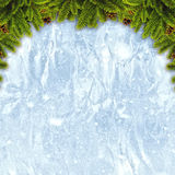 Abstract christmas backgrounds. With xmas decorations over iced texture Stock Images