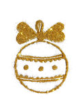 Abstract Christmas ball with cute bow of golden glitter, festive design element, icon.  Stock Photo