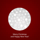 Abstract Christmas ball. Cutted from paper on red background Royalty Free Stock Image