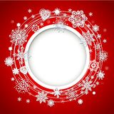 Abstract Christmas ball cutted from paper. On red background Royalty Free Stock Images