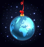 Abstract christmas ball of The Earth. In space. Illustration vector illustration