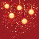 Abstract christmas balls. Abstrach four gold christmas balls on red background with sparks stock illustration