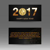 Abstract christmas banner with a gold disco ball Stock Photography