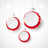 Abstract Christmas Baubles Gray Background Snow. Christmas baubles with snowflakes on the white background Royalty Free Stock Image