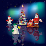 Abstract Christmas blue greeting with Santa Claus. Abstract Christmas greeting with Santa Claus on aurora background Stock Photography