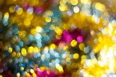Abstract Christmas bokeh background. Unfocused tinsel close up shot. stock image