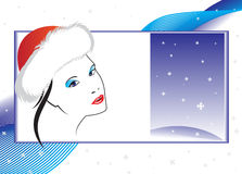 Abstract Christmas card. With the person of the girl Royalty Free Stock Photo