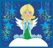 Abstract Christmas card with angel. Vector Illustration royalty free illustration