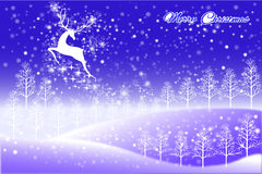 Abstract christmas card design of reindeer flying the sky - vector eps10 Stock Image