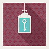Abstract Christmas Card With House, Key, Snowflakes And Long Shadow Royalty Free Stock Images