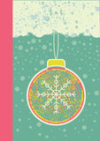 Abstract christmas card on snow background. With ball vector illustration