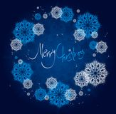 Abstract Christmas card with snowflakes. Stock Images