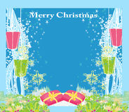 Abstract Christmas card ,star, gifts, snow Royalty Free Stock Images