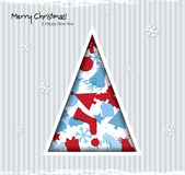 Abstract Christmas card with tree and christmas ic Royalty Free Stock Photography