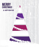Abstract Christmas card with a tree in purple colo Royalty Free Stock Photo