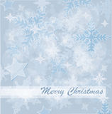 Abstract Christmas card with white snowflakes Stock Photography