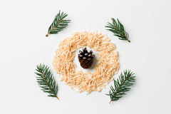 Abstract christmas composition flat lay with cone and pine branches. creative concept.  Royalty Free Stock Photography