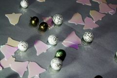 Abstract Christmas decor background with balls and jingles royalty free stock photos