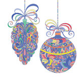Abstract christmas decorations on a white background. Vector royalty free illustration