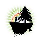 Abstract Christmas Design. Christmas tree on a fantasy island with rainbow stock illustration