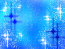 Abstract christmas design with white blue stars. Abstract christmas design with white glowing stars on blue background Stock Photos