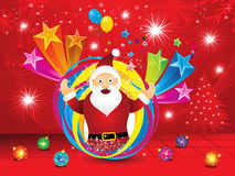 Abstract christmas explode background with santa Stock Image