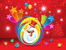 Abstract christmas explode background with snow man. Vector illustration Stock Photo