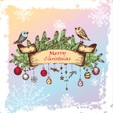 Abstract christmas frame. Christmas Illustration With Birds, Christmas Balls And Fir Branches. Vector illustration Royalty Free Stock Images