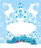 Abstract Christmas frame with reindeer Stock Image