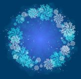 Abstract Christmas frame with snowflakes. Stock Photo