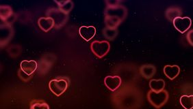 abstract christmas gradient red and purple gradient on black background with bokeh glitter and red hearts shape flowing, valentin royalty free stock image