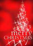 Abstract christmas greeting card. Christmas tree made of shining stars on red background Stock Photos