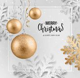 Abstract Christmas greeting card. With silver snowflakes and event balls stock illustration