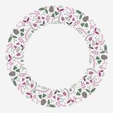 Abstract Christmas flat wreath composition vector. Abstract Christmas greeting card template / background flat design style for your graphics Stock Photography